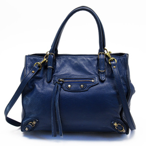 Balenciaga BALENCIAGA Handbag Navy Leather Ladies 3141a