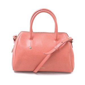Furla FURLA Handbag Shoulder Bag Coral Pink Leather Ladies 2017