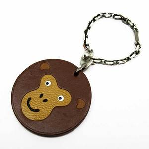 Hermes HERMES charm monkey animal motif brown silver leather SV925 3083