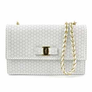 Salvatore Ferragamo Chain Shoulder Bag White Leather Women's y14196c
