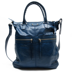 Balenciaga BALENCIAGA Handbag Blue Silver Leather Ladies 3186e