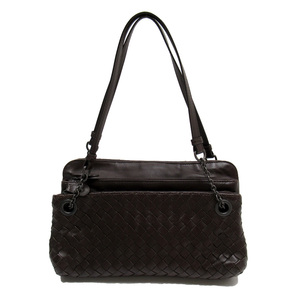Bottega Veneta BOTTEGA VENETA mini shoulder bag intrecciato dark leather 3191a