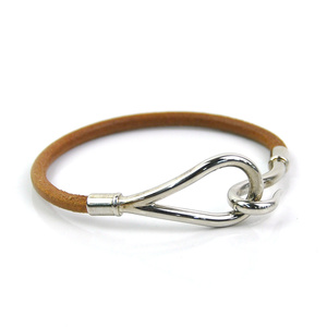 Hermes Bracelet Jumbo Hook Brown Silver Leather HERMES Ladies y14020