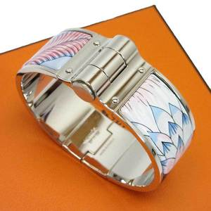 Hermes HERMES bracelet bangle Emayle blue pink silver enamel ladies 2753