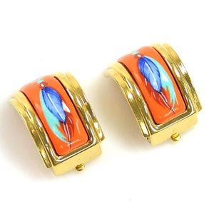 Hermes Earrings Cloisonne Orange Multi Color HERMES Ladies y14066d