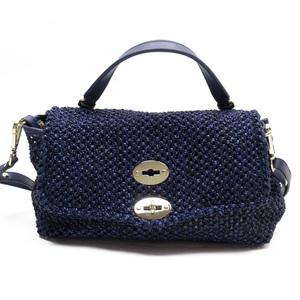 Zanellato Handbag Postina Baby Navy Silver Nylon Leather 3180c