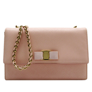 Salvatore Ferragamo Vala Ribbon Pink Gold Leather 3179a