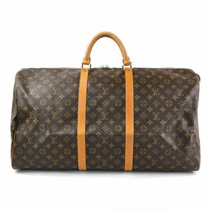 Louis Vuitton Boston Bag Travel Monogram Keepall 60 Brown Canvas Ladies Men M41422 y14198e