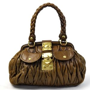 Miu Miu Miu Shoulder Bag Matrasse Brown Gold Leather Ladies 2126