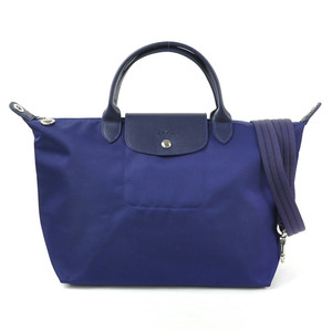 Longchamp Handbag Shoulder Bag Le Preage Navy Leather Nylon LONGCHAMP Ladies y14149b
