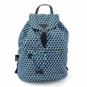 Prada Backpack Triangle Logo Plate Brown Nylon Leather PRADA Ladies Men y14153a