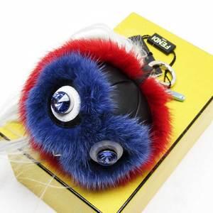 Fendi FENDI Charm Bag Bugs Monster Black Purple Red Silver Fur Leather Ladies 2823