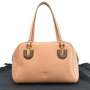 LOEWE bag anagram salmon pink brown gold leather handbag shoulder ladies r7774c