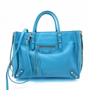 Balenciaga BALENCIAGA Handbag Blue Silver Leather Ladies 3144a
