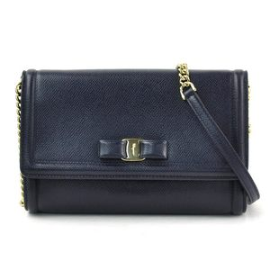 Salvatore Ferragamo Chain Shoulder Bag Vala Navy Leather Women's y14252d
