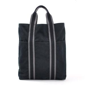 Hermes handbag tote bag cabas fool toe black gray 100% HERMES women's men's y14006