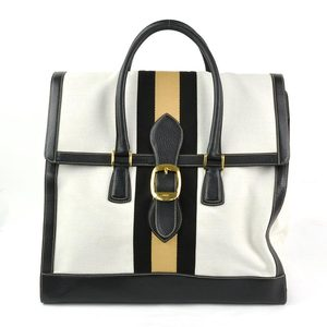 Gucci Handbag Travel Bag Sherry Off White Black Canvas Leather GUCCI Ladies Men 140420 y14134b