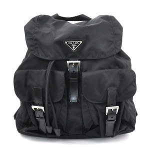 Prada backpack triangle logo NERO nylon leather PRADA ladies mens y14248a
