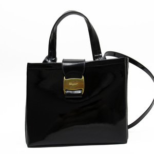 Salvatore Ferragamo Handbag Shoulder Bag Black Gold Patent Leather Ladies 3183e
