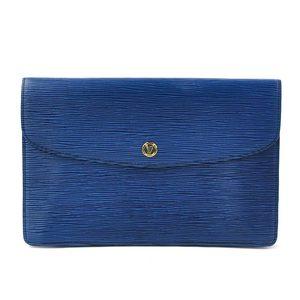 Louis Vuitton Clutch Bag Second Epi Montaigne 27 Blue Leather Men's M52655 y14148b