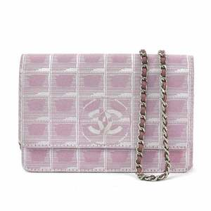 Chanel Shoulder Wallet New Travel Line Pink Nylon Jacquard Leather CHANEL Ladies y14192a