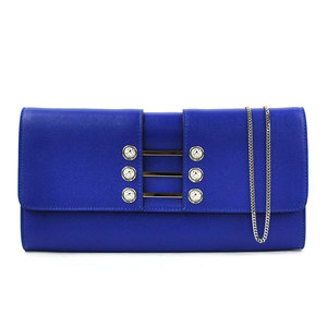 Versace Chain Shoulder Bag Clutch VERSACE Blue Silver Leather Ladies y14195c