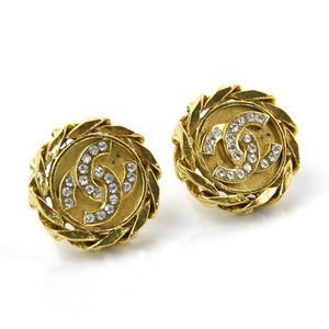 Chanel Earrings Gold Clear Stone CHANEL Ladies y14272b