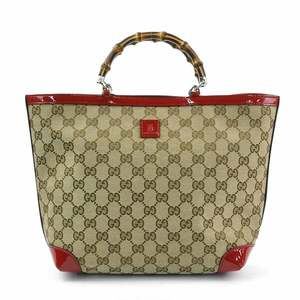 Gucci Handbag Tote Bag GG Bamboo Brown Red Canvas Leather GUCCI Ladies y13977