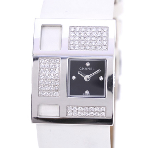 CHANEL Art Deco K18 White Gold Satin Quartz Ladies Watch