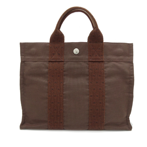 Hermes Ale Line Tote PM Ladies' Men's Bag Canvas Brown DH56870