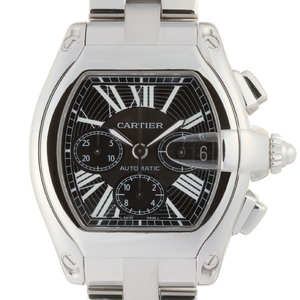 Cartier Roadster Chronograph Mens Watch W62020X6 Stainless Steel Black Roman Dial DH56681