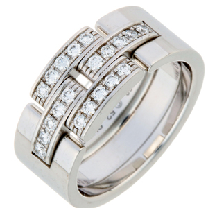 Cartier Maillon Panthère Diamond # 52 Ladies Ring & B4080800 750 White Gold No.12 Silver DH56761