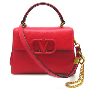 Valentino Caravani 2WAY Bag Ladies Handbag TW2B0F53KGWCU8 Leather Pure Red DH56860
