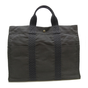 Hermes Ale Line Tote MM Ladies Bag Canvas Gray DH56872