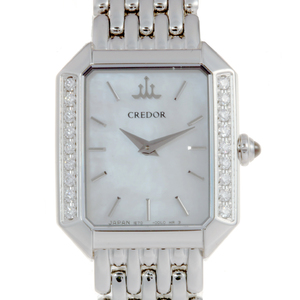 Seiko Credor Signo Side Diamond Ladies Watch GSTE889 Stainless Steel White Shell Dial DH56752