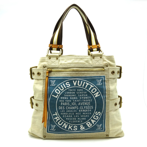 Louis Vuitton Globe Shopper MM Women's Men's Tote Bag M95114 Canvas Ivory Blue DH56892