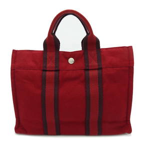 Hermes Fool Toe PM Ladies Tote Bag Cotton Canvas Red DH56871