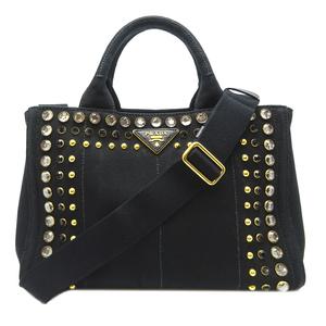 Prada Kanapato Tote Handbag B24390 Canvas NERO Black DH56840