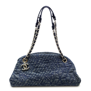 Chanel Mademoiselle Camellia Chain Shoulder Bag Ladies Handbag Denim Blue DH56855
