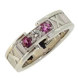 Tiffany Atlas Diamond Pink Sapphire Ladies Ring / 750 White Gold No. 9.5 Silver DH56961