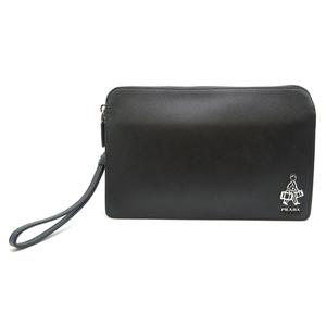 Prada Saffiano Clutch Bag Men's Second 2VF056 Leather NERO Black DH57046