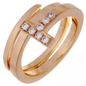Tiffany T Square Wrap Diamond Ladies Ring / 750 Pink Gold No. 9 DH56981