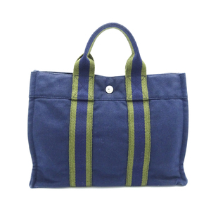 Hermes Fool Toe PM Ladies Tote Bag Cotton Canvas Navy Green DH57122