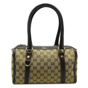 Gucci Boston Bag Ladies Handbag 130942 GG Canvas Beige x Brown DH57120