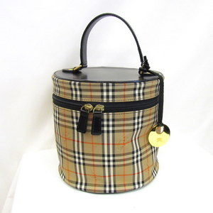 BURBERRY 'S Burberry Vanity Bag Handbag Cosmetic Canvas Black Beige Charm Ladies 411278 RYB5836