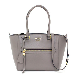 Prada PRADA Leather 2WAY Tote Bag Gray ARGILLA Shoulder 1BG227