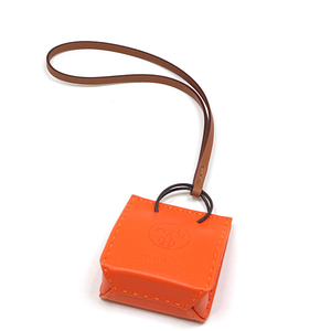 HERMES Sac Orange Bag Charm Fu x Gold Anew Milo D Engraved
