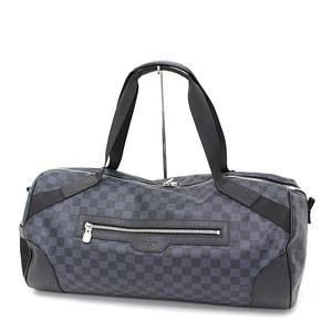 Louis Vuitton LOUIS VUITTON Matchpoint Porosion Damier Cobalt Canvas Taiga Leather Black Blue N40012 Boston Bag Shoulder