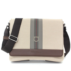 Salvatore Ferragamo Messenger Bag Fabric Calf Beige Brown Gancini 249822