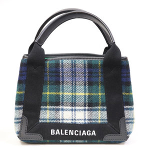 BALENCIAGA handbag navy hippo check pattern small green ladies' men's